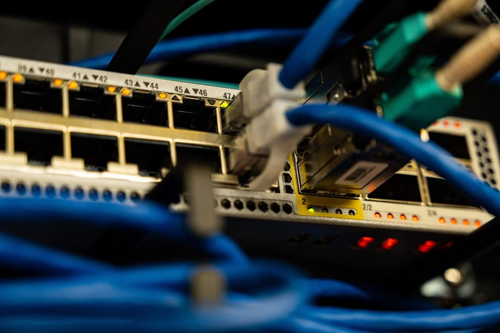 Ethernet Cables in a Network Switch